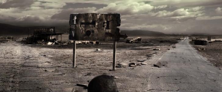 「ザ・ウォーカー」の考察。イーライは盲目か。最後の男は誰か。:右に「井戸」左に「宿舎」のアイコンが描かれた看板